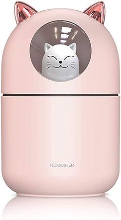 Opinión sobre Humidificador con Modo de Niebla Ajustable Cool Mist, Carga USB Lindo humidificador de Gato con Luces de Noche LED de 7 Colores, Que Cambia para el hogar, el Dormitorio del bebé, la Oficina (Rosado)