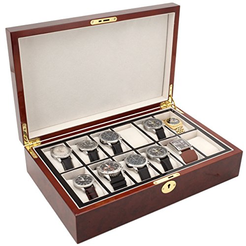 Watch Box for 12 Burlwood Finish Inlaid Edge - Removable Tray (Burlwood Dark Tray)