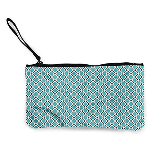 Ogee Liner - Printed Canvas Purse Abstract,Wavy Lines Ogee Shapes,Pouches Gifts with Zip and Liner W 8.5