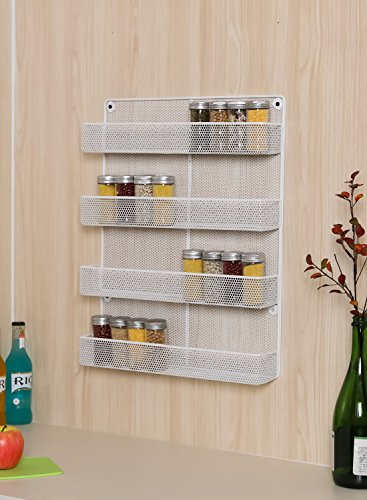 ESYLIFE 4 Tier Wall Mount Spice Rack Organizer Large Kitchen Spice Storage  Shelf, White | Quick Reviews for Cooking