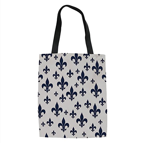 Fleur De Lis Classic Wallet - IPrint Navy Blue Decor,Various Sized Classic Fleur de Lis Patterns Royal Retro Style Antique Decor Living,Gray Dark Blue Printed Women Shoulder Linen Tote Shopping Bag