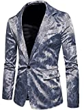 ZEROYAA Mens Hipster Slim Fit One Button Single Breasted Paisley Stylish Suit Jacket