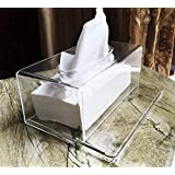 Facial Tissue Dispenser, Decorative Rectangular Napkin Holder, Clear Acrylic Box Cover Facial Tissue Dispenser, Tissue Box for Kitchen and Office Room by Ashnna