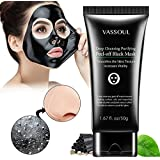 Vassoul Blackhead Remover Mask, Peel Off Blackhead Mask, Blackhead Remover - Deep Cleansing Black Mask, Bamboo Activated Charcoal Peel-Off Mask (50g)