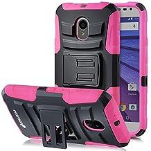 Fosmon (STURDY) Motorola Moto G (3rd Gen, 2015) Case: Rugged Heavy Duty Hybrid Dual Layer Shell Case and Holster with Kickstand for Motorola Moto G (3rd Gen, 2015) - Fosmon Retail Packaging (Pink)