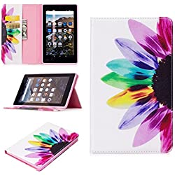 """Amazon Fire 7"""" 2017 Case,JLTL Unique Design PU Leather Flip Wallet TPU Case Kickstand Cover with Card Slots for Amazon Kindle Fire 7 (Only for 7th Gen 2017 Release)"""