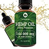 Hemp Oil Drops 144 000mg, 100% Pure Natural Ingredients, Co2 Extracted, Helps Cope With Anxiety and Pain, Promotes Relaxation, Vegan Vegetarian Friendly Larger Image