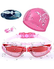 Aokelily Swim Goggles And Cap Set 4 in 1, UV 400 Protection Lenses Clear Anti-Fog Swimming Goggles Waterproof No Leaking With Nose Clip + Ear Plugs for Adult Men Women Kids (Black)
