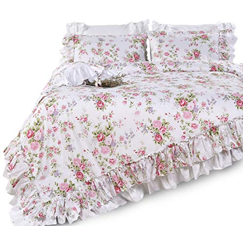 Queen's House Shabby Elegant Floral Duvet Cover French Country Rose Printed Comforter/Quilt Cover Bedding King Set