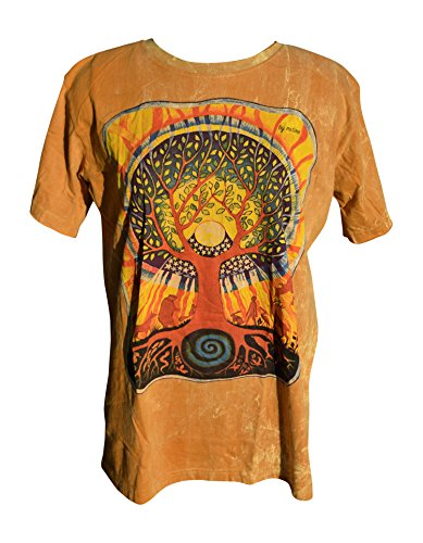 - Nickanny's Acid Wash Yoga Yellow Gold Tree Of Life Screenprint T Shirt With Animals, Stars and Celtic Designs (X Large, Gold)