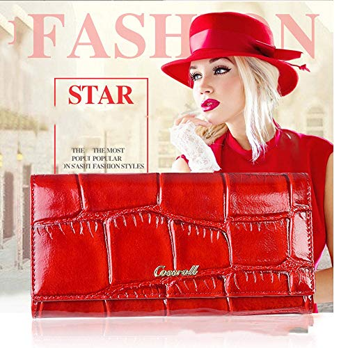 Real Color Lady Red Clutch Black Purse Lovely rabbit Leather Luxury Evening 5AwxxF8aq