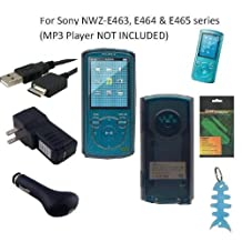 6 Items Accessories Bundle Kit for Sony Walkman NWZ-E463, NWZ-E464 and NWZ-E465 MP3 Player: Includes (Smoke) Soft Gel Thermoplastic Polyurethane TPU Skin Case Cover, LCD Screen Protector, USB Wall Charger, USB Car Charger, 2in1 USB Cable and Light Blue Fishbone Style Keychain