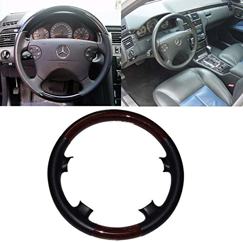 Mercedes Wood Leather Steering Wheel (Black Leather Brown Wood Steering Wheel Protector Cover Cap for 2000-2002 Mercedes Benz W210 E Class E320 E430 E500 E55 AMG)