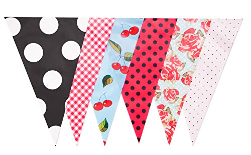 30ft Vintage Rockabilly Bridal Shower Banner Birthday Party Decoration Pennant Flags(JA001) -