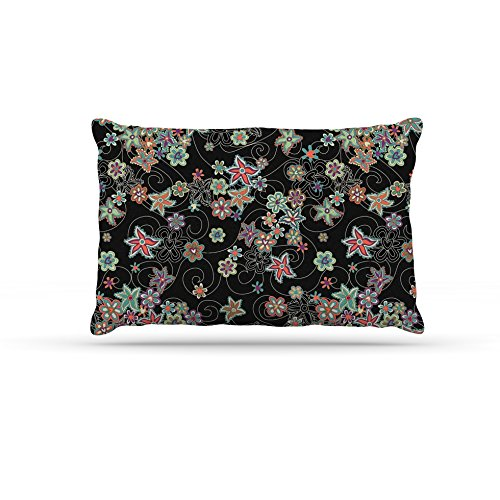 Kess InHouse Julia Grifol My Small Flowers  Fleece Dog Bed, 50 by 60 , Black Floral