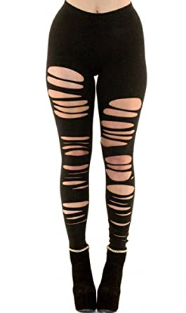 0988fe00ebf81 SOHO GLAM Ripped Up Torn Apart Leggings (Plus XL XXL XXXL) at Amazon ...