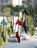 HAOSUM Hanging Decor Set of 5 Pieces Stained Glass Window Hanging Garden Ornaments for Window or Wall Hangings, Best Gift Ideas, Blue, Red, Purple, Yellow, Green with Clear Glass Ornament, 5x1.5