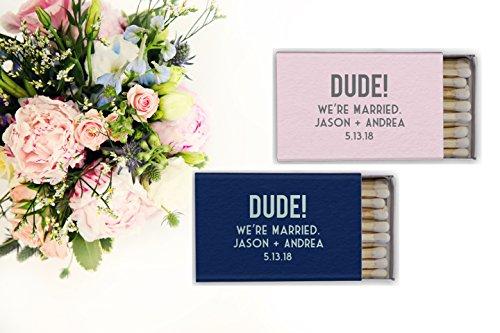 Dude We're Married! Wedding Custom Matches / Custom Wedding Matches / Personalized Matches / wedding Favors / Candle Box Matches / Cigar Matches Matchbox Favor Custom Matchbox