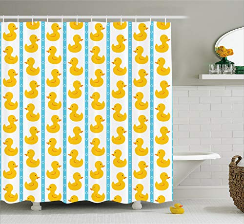 Ambesonne Rubber Duck Shower Curtain, Yellow Duckies with Blue Stripes and Small Circles Baby Nursery Play Toys Pattern, Cloth Fabric Bathroom Decor Set with Hooks, 70