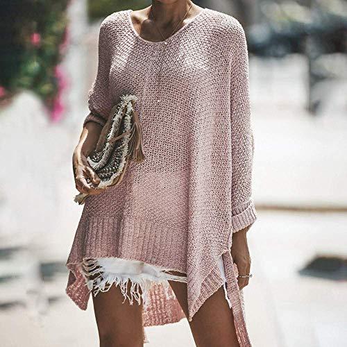 Pulls À Mode Tricot Pardessus Outwear Boho En O Sweat Fit Manches shirt Capuche Hiver Lâche Longues Rayé Rose Automne Pull Set Femmes Chaud Cou IpFxfnqn