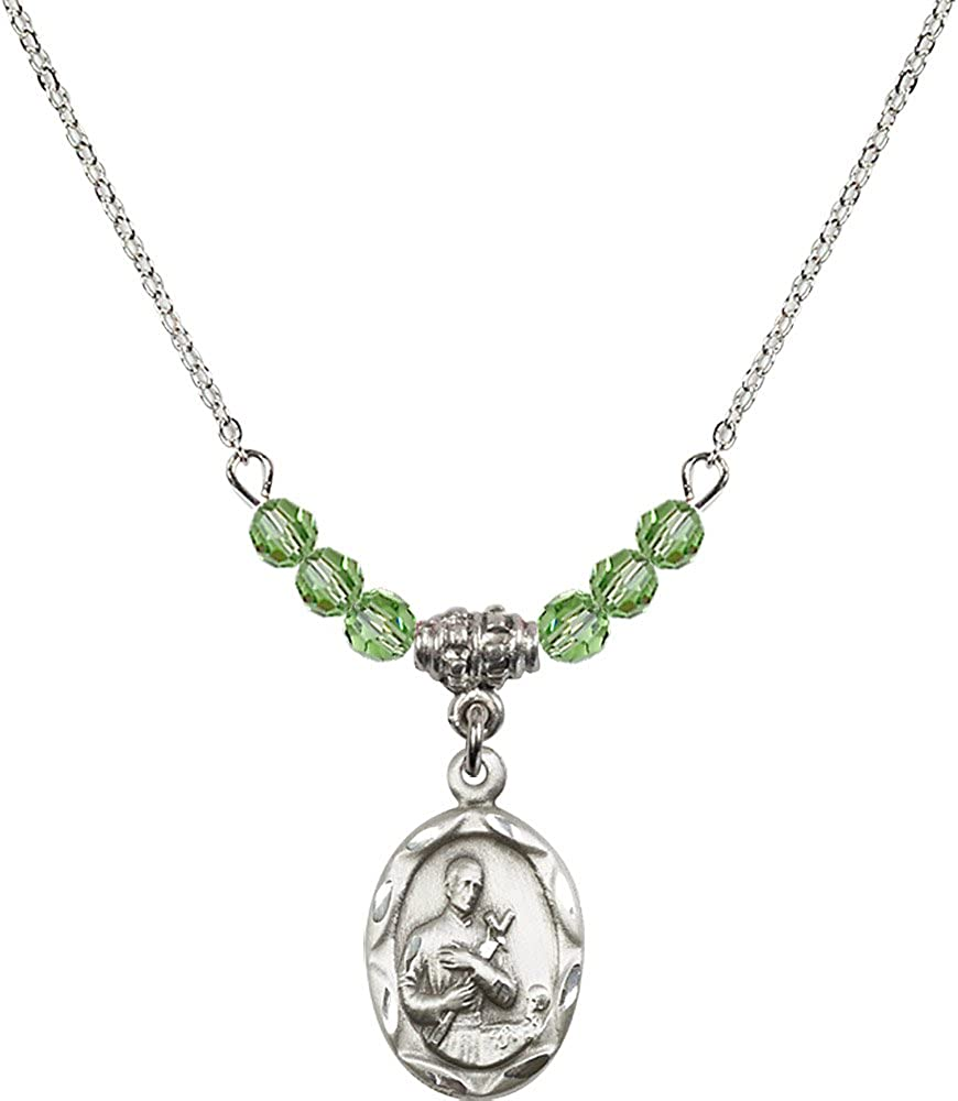 18-Inch Rhodium Plated Necklace with 4mm Peridot Birthstone Beads and Sterling Silver Saint Gerard Charm.