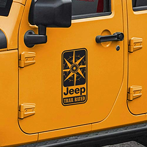SkunkMonkey - Jeep Wrangler Trail Rated Compass Door Decals TJ LJ JK JKU - White Stickers - (Pair - Left and Right)