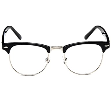 525377938c Amazon.com  Shiratori New Vintage Classic Half Frame Semi-Rimless Clear  Lens Glasses black  Clothing