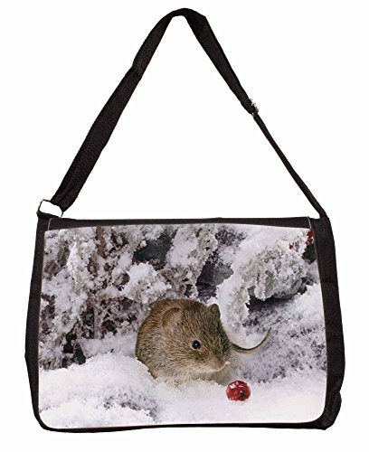 Cute Field Mouse in Snow Large 16 Black School Laptop Shoulder Bag