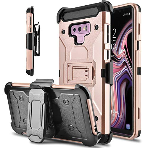 Tevero Hard Galaxy Note 9 Case, Kickstand [Heavy Duty Protection] Swivel Belt Clip Holster Full Body Protective Shockproof Phone Case Cover Compatible with Samsung Galaxy Note 9/SM-N960U (Rose Gold)