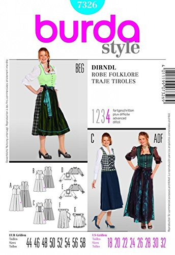 Burda Ladies Sewing Pattern 7326 - Dirndl Dress Sizes: 18-32