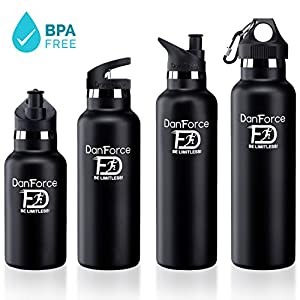 DanForce 18 OZ stainless Steel Sports Water bottle - Double walled metal Vacuum Insulated, BPA Free. Keep 24 Hours Hot , 36 Hours cold, Comes with leak proof Straw,Sports and Cap lids, 12-24 Ounces
