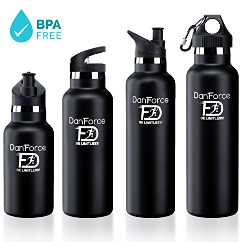 DanForce 24 OZ stainless Steel Sports Water bottle - Double walled metal...