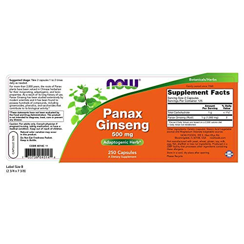NOW Panax Ginseng 500 mg,250 Capsules by NOW Foods (Image #1)