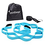 Sportneer Stretch Strap Stretching Out Band for Yoga Dance Physical Therapy Rehab 12 Loops, with Padded Footrest, Door Anchor, User Guide