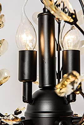 Garwarm Vintage Crystal Chandeliers Ceiling Lights LED Light Crystal Pendant Lighting Ceiling Light Fixtures Chandeliers Lighting for Living Room Bedroom Restaurant Porch Chandelier(Black)