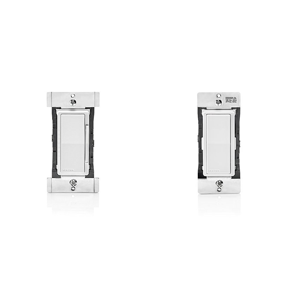 Leviton DDF01-BLZ Decora Digital 1.5 Amp Quiet Fan Speed Control & Timer with Bluetooth Technology, White/Ivory/Light Almond and Leviton DD0SR-DLZ Dual Voltage 120/277VAC Decora Digital/Decora Smart Matching Switch Remote
