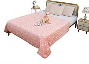 TTLUCKY Crystal Velvet Pet Blanket Cover, Water-Resistant Blanket for Bed Couch Protection Washable, Reusable Underpads Bed Wetting Incontinence Cover Pad Dog Baby, Beige & Pink,108 X 64 Inch