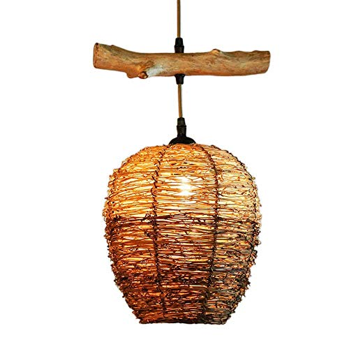 JJL Tropical Bamboo Chandelier DIY Wicker Rattan Lamp Shades Weave Hanging Light Round Coffee Color