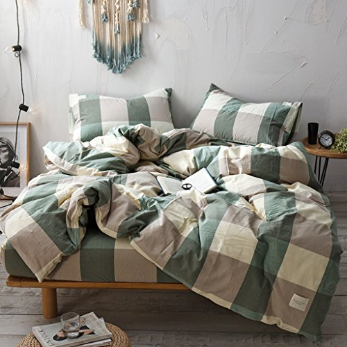 Green Plaid Comforter - Haru Homie 3-Piece 100% Washed Cotton Duvet Cover Simple Style Bedding Set with Zipper Closure - Ultra Soft and Easy Care, (Full, Green/Khaki Grid)