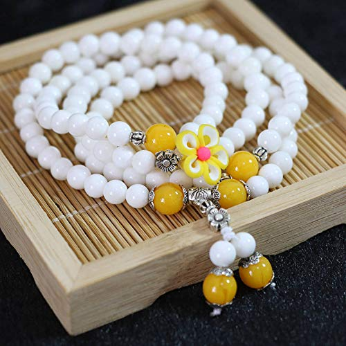 - White Multilayer 6Mm 108 Round Loose Bracelet | with Colorful Charms Flowers Pendant Women Bracelet (Rhodium Plated)