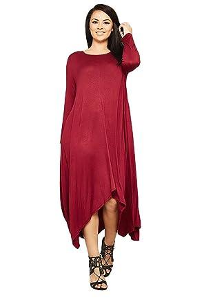 cdfedb2a79e Women s Long Loose Casual Asymmetrical Oversize Handkerchief Hem Jersey  Maxi Dress (Made in The USA) at Amazon Women s Clothing store
