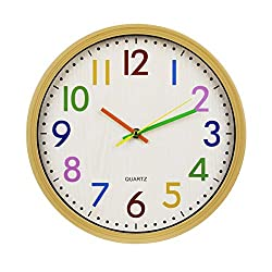 Silent Non-ticking Kids Wall Clock Quartz Clock Decorative Battery Operated Wall Clock Good for Living Room & Home & Office - 12 Inch, Easy Install, Colorful Number 2-Year Warranty