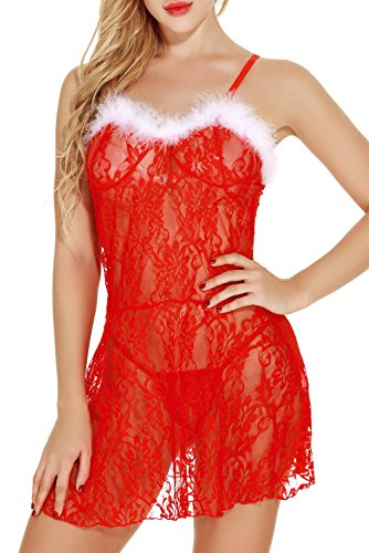 Costume Party Invitation Wording For Adults (Eternatastic Women's Christmas Lingerie Red Babydolls Set Santa Lingerie Lace Chemises XXL)