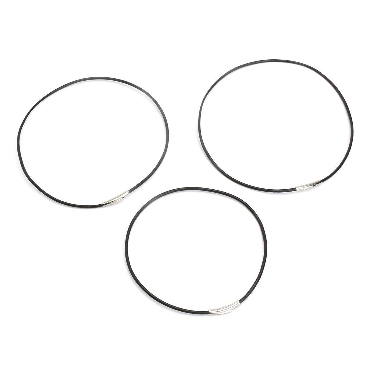55cm SKNSM Cuerda de Cuerda de Cuero Unisex de Acero Inoxidable de 3 mm de Cadena Cuerda de Cuerda de Cuero Negro Collar de Moda Gargantilla Color : 40cm