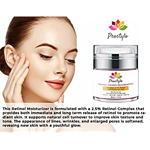 Prostylo Retinol Moisturizer Cream with Hyaluronic Acid and 2.5% Retinol Complex for Face and Eye, Night & Day Moisturizing Cream Improves Skin Texture, Tone for a Radiant & Glowing Complexion 1.7oz