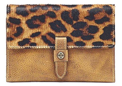 Patricia Nash Colli Flap Leather Wallet Clutch Leopard Rust