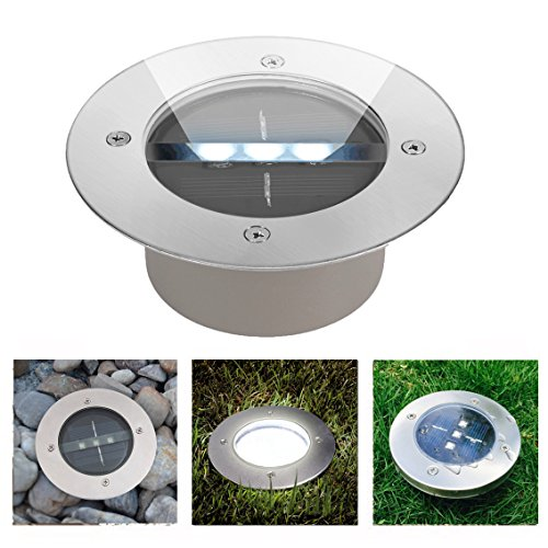 Ezoe's Solar Ground Light - 3 LED Buried Light Lamp - Automatic Sensor Stainless Steel In Ground Recessed Lights Waterproof Solar Powered Outdoor Landscape Decorations (White)