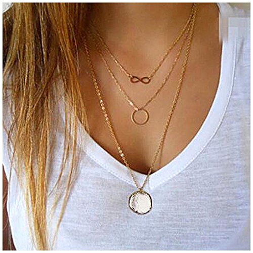 Aukmla Gold Layered Necklace Pendant Jewelry with 3 Layers for Women and Girls