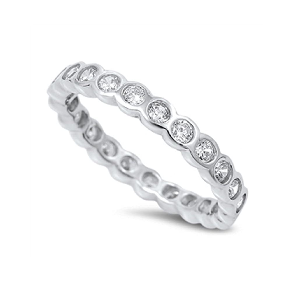 CloseoutWarehouse Round Cut Cubic Zirconia Eternity Ring Sterling Silver