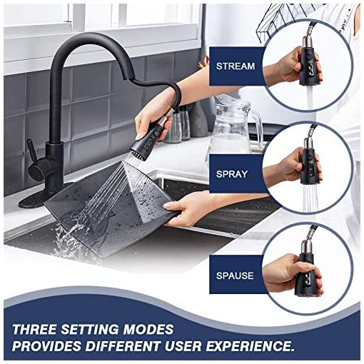 Farmhouse Kitchen Kitchen faucets with Pull Down Sprayer, Farmhouse Kitchen Faucet Oil Rubbed Bronze Commercial Modern high arc Stainless… farmhouse sink faucets